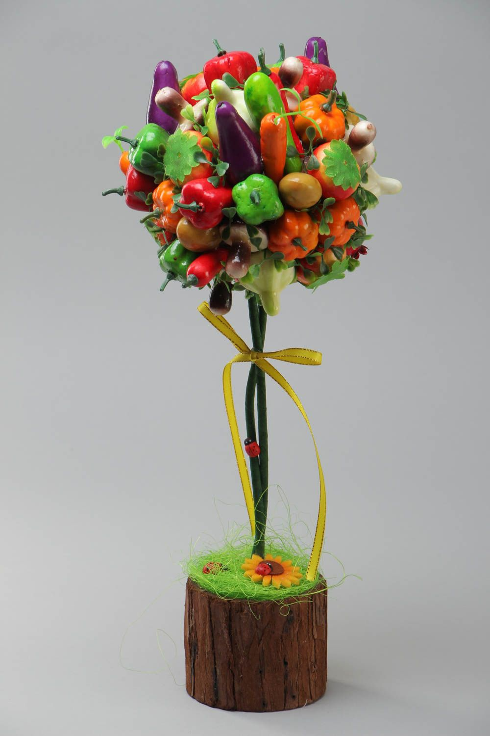 Handmade decorative bright topiary tree with fruit and vegetables for table decor photo 2
