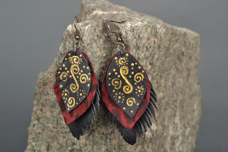 Leather dangle earrings Leaves photo 3