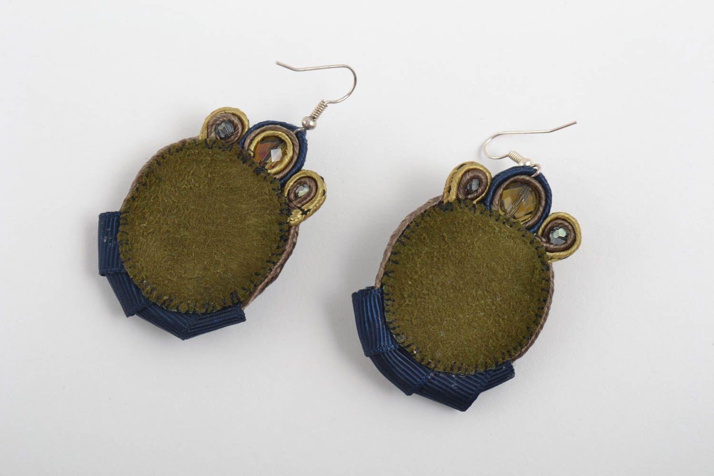 Большие серьги украшения ручной работы сутажные серьги с чешским стеклом синие фото 2
