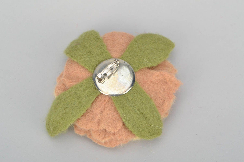 Brosche aus Wolle Rose foto 5