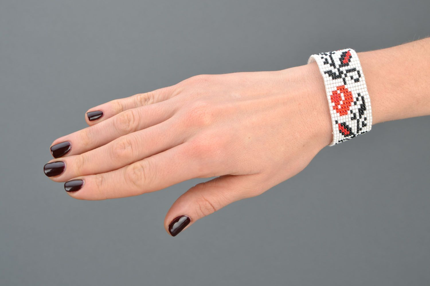 Wide beaded bracelet with ethnic pattern photo 2