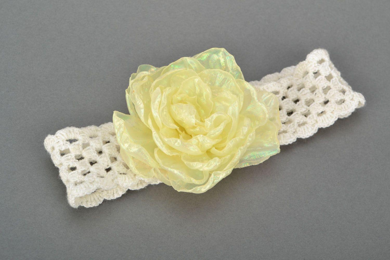 Ajour Haarband mit Blume foto 1