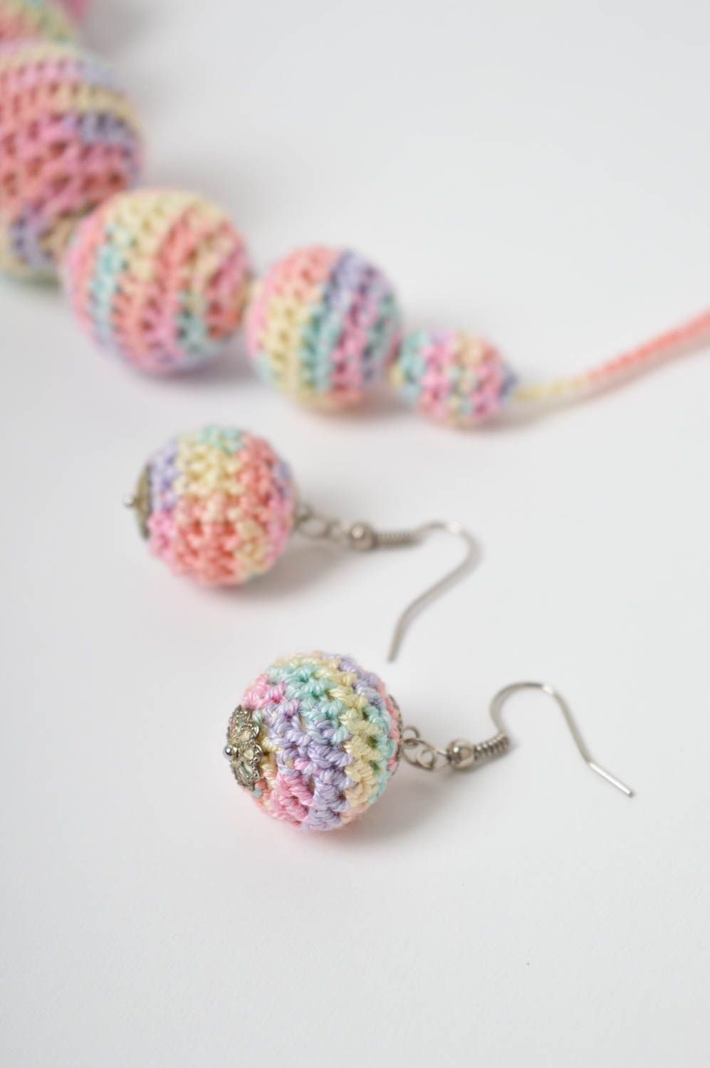 Handmade crochet earrings crochet ball necklace costume jewelry designs photo 3
