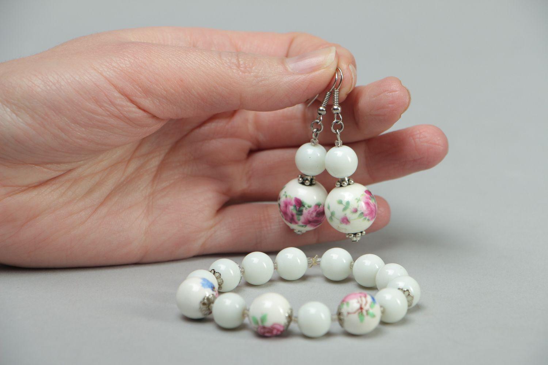 Ceramics and Czech glass jewelry set earrings and bracelet photo 4