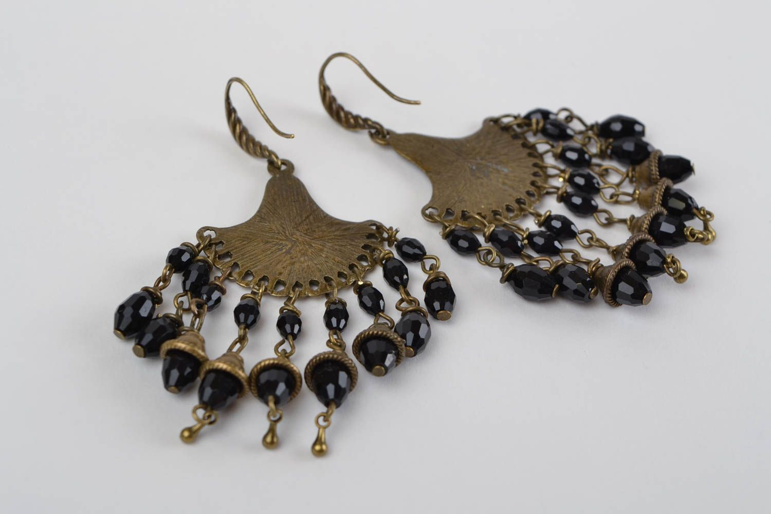 Handmade massive earrings accessory in Eastern style beautiful earrings photo 9
