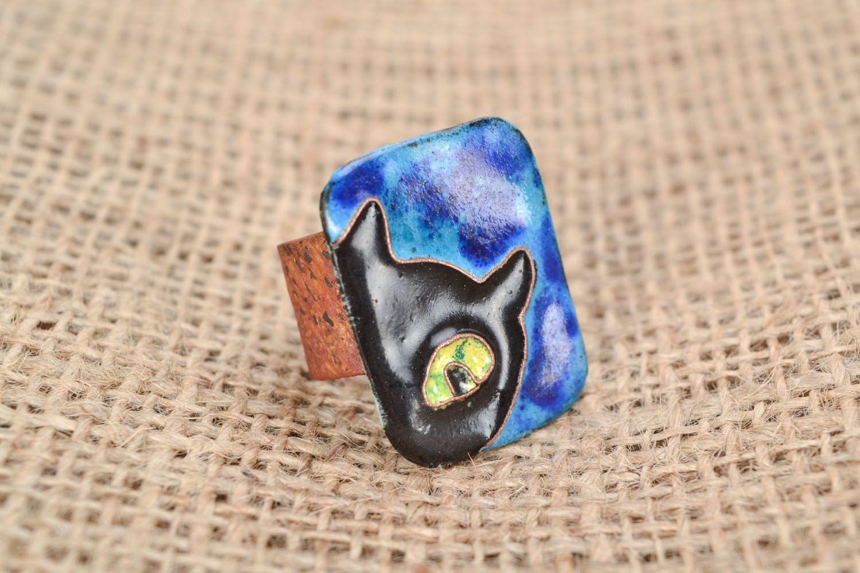 Медное кольцо Черный кот фото 1