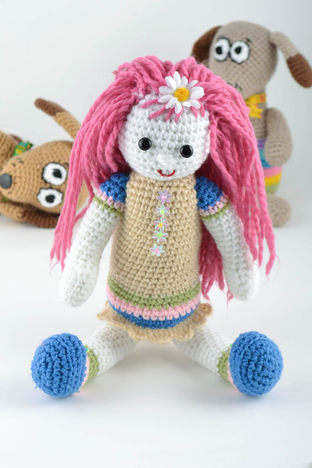 knitted toys Handmade designer soft toy crocheted of wool and semi wool girl with pink hair - MADEheart.com