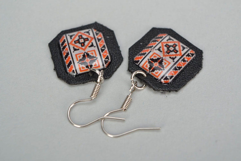 Ethno style leather earrings Vyshyvanka photo 3
