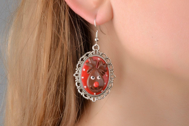 Homemade earrings Deer photo 1
