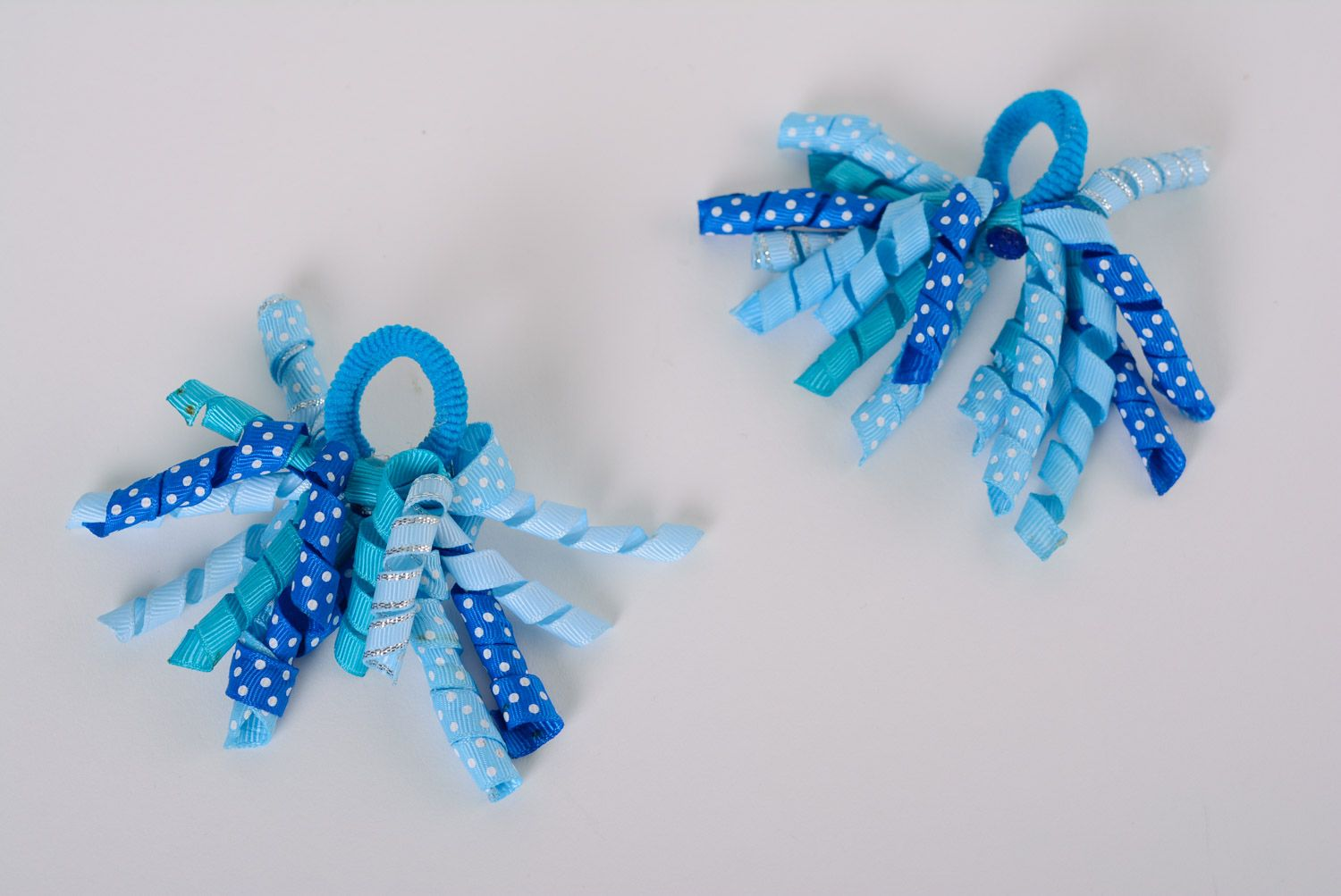 Set of handmade ribbon flower scrunchies of blue color for women and children 2 items photo 1