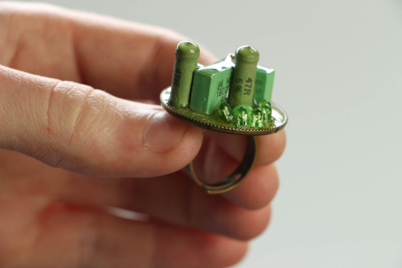 Green metal ring in cyberpunk style photo 4