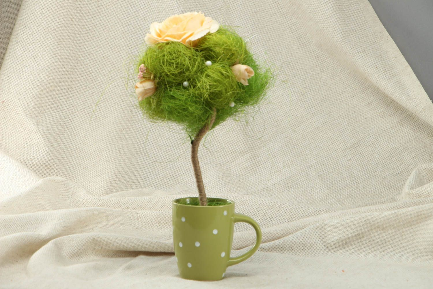 Handmade green topiary in cup photo 1