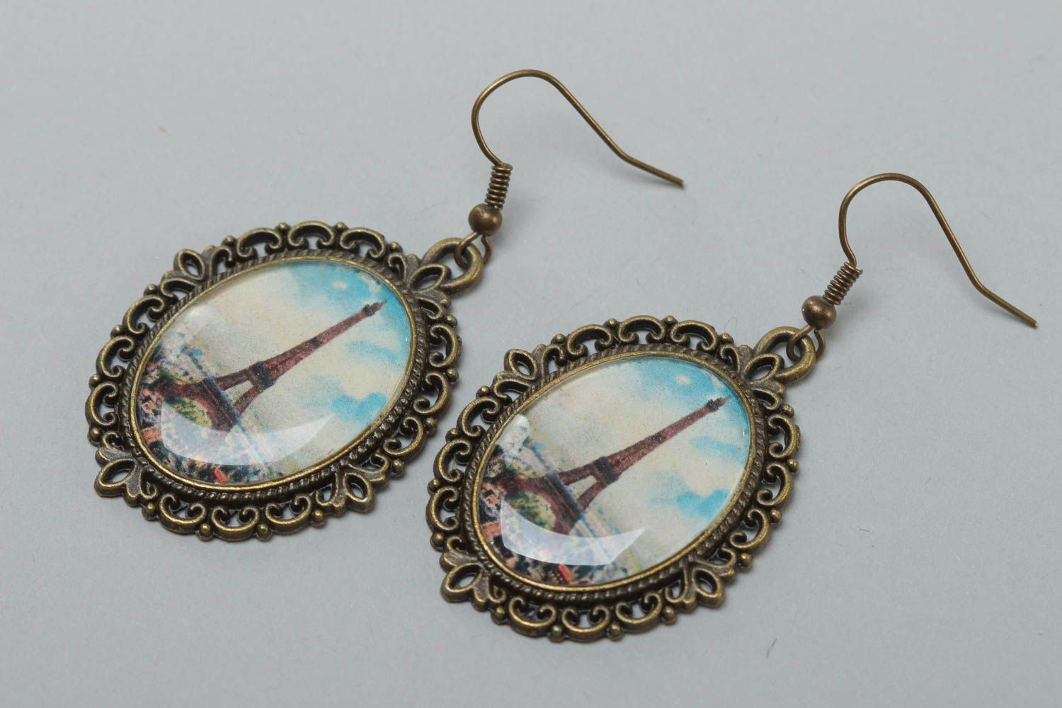 Handmade women's earrings with glass glaze oval vintage stylish accessory photo 2