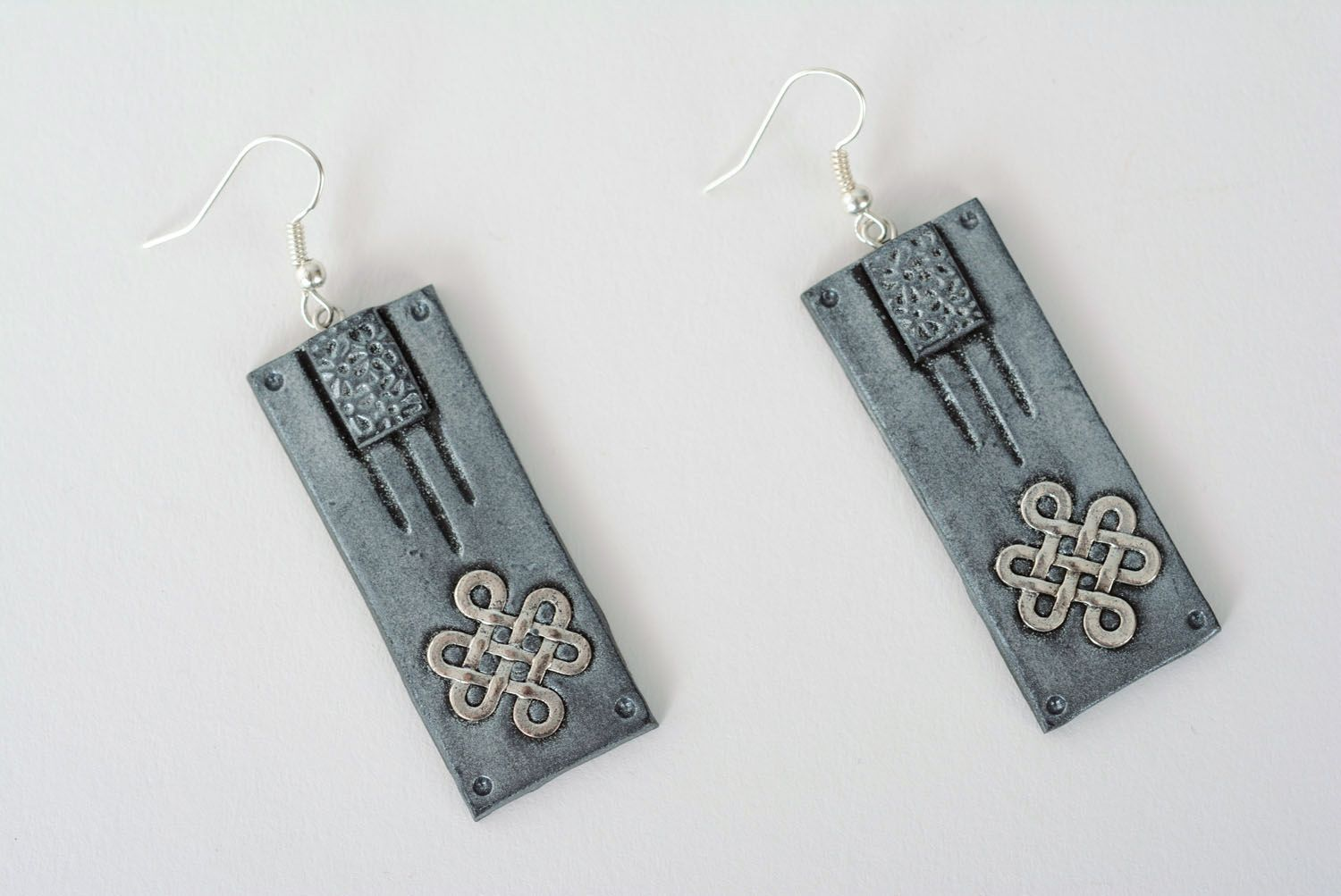 Polymer clay gray earrings photo 1