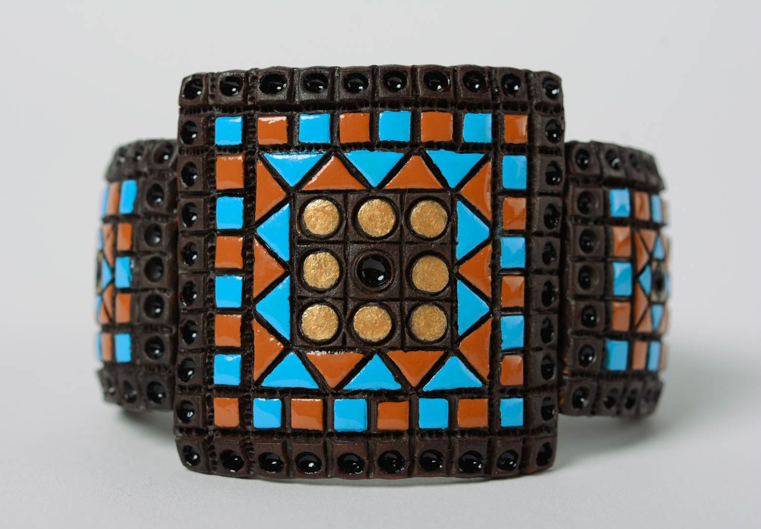 clay bracelets Unusual colorful wide handmade ceramic bracelet with leather inserts - MADEheart.com