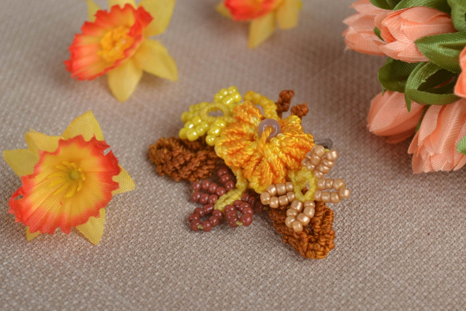 Beautiful handmade woven flower brooch designer brooch pin gifts for her photo 1