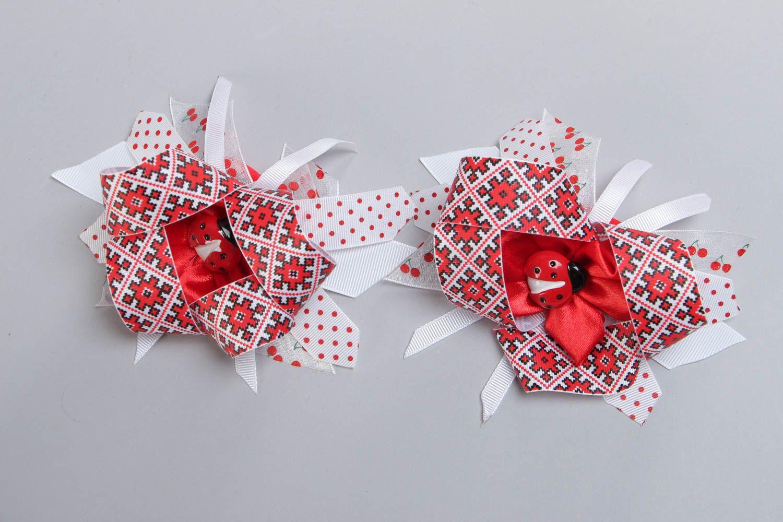 Set of handmade kanzashi satin fabric hair ties 2 pieces for girl photo 2