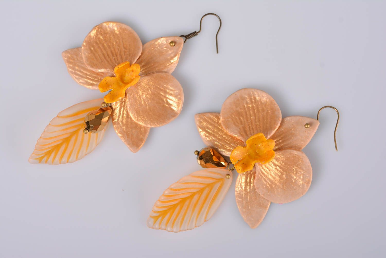 Beautiful handmade designer polymer clay flower earrings of average size photo 4