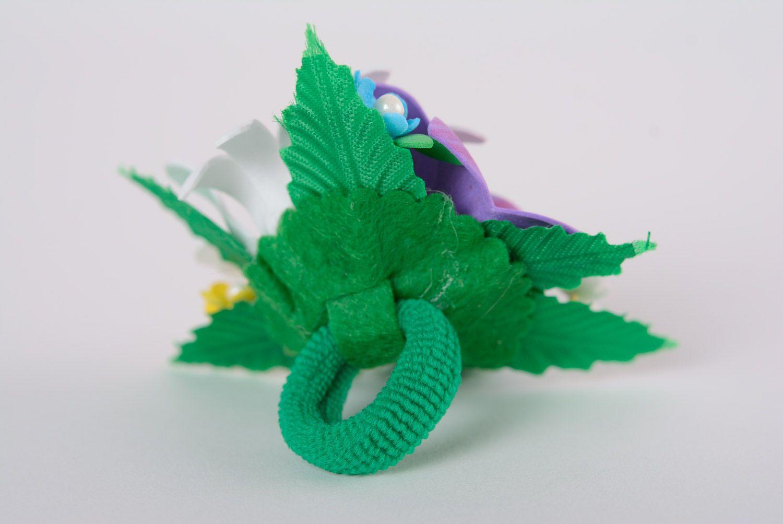 Set of handmade women's foamiran flower scrunchies in the shape of flower bouquets 2 items photo 5