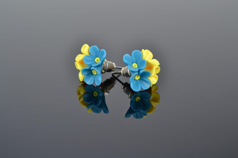 Polymer clay earrings Flowers photo 1