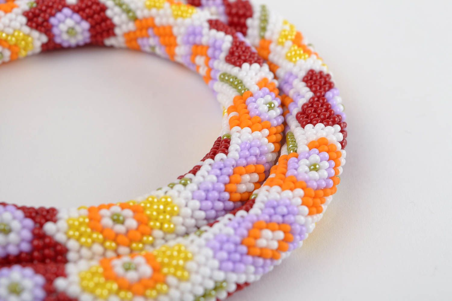 Handmade beaded cord necklace seed beads necklace stylish accessory for women photo 4