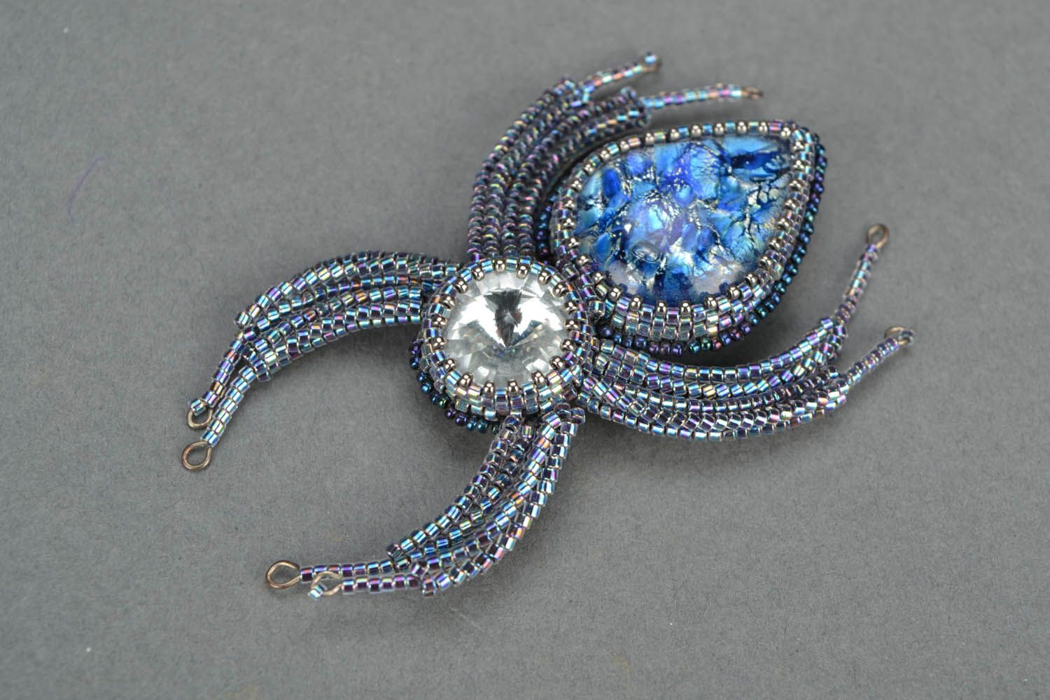 Brooch made of glass Spider photo 3
