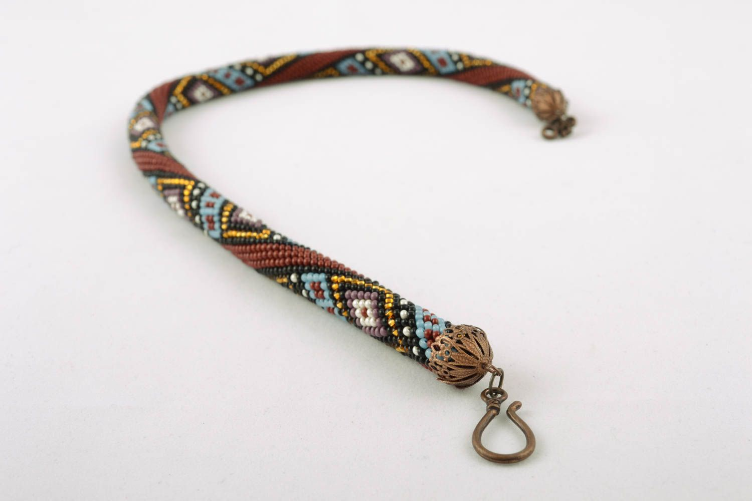 Beaded cord necklace with ornament photo 3