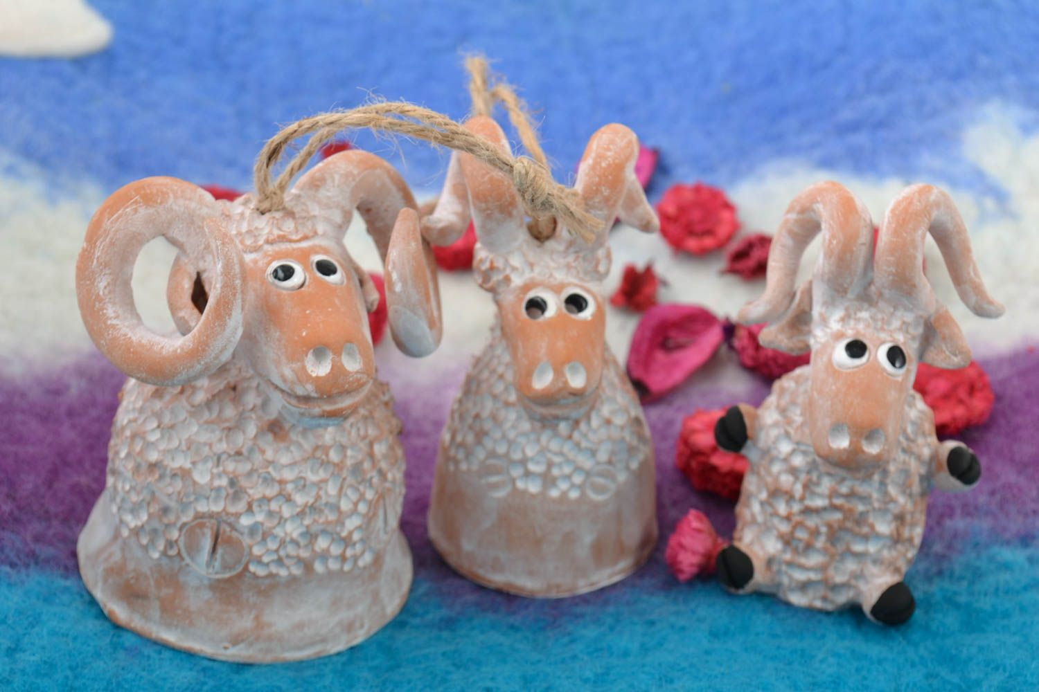 Handmade ceramic figured bells and figurine in the shape of lambs set of 3 items photo 1