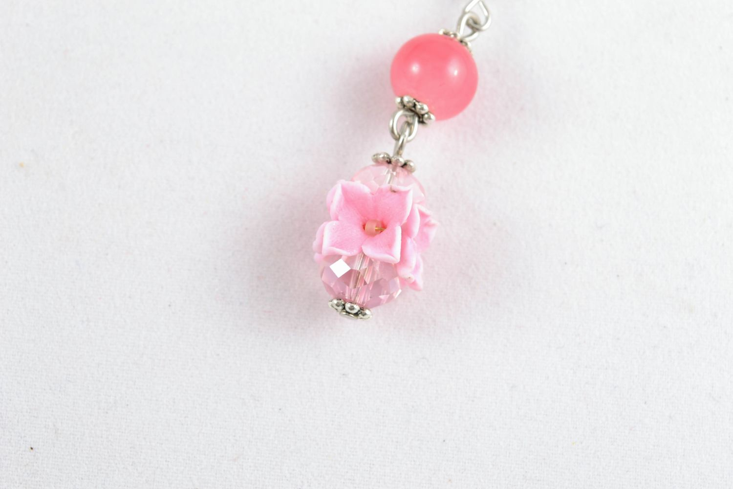 Pink polymer clay earrings photo 5