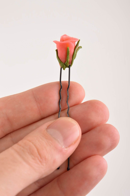 Handmade hair pin designer hair pin unusual accessories hair pin with flower photo 5