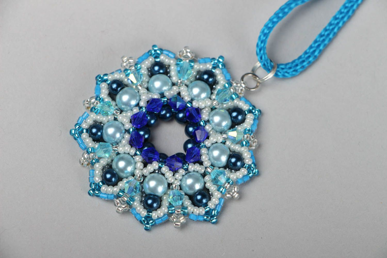 Blue beaded pendant Pearls photo 1