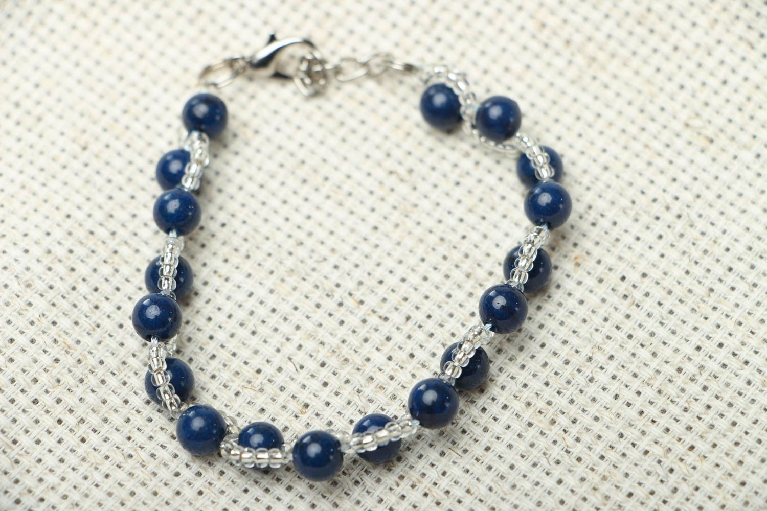 Thin bracelet with natural stone photo 1