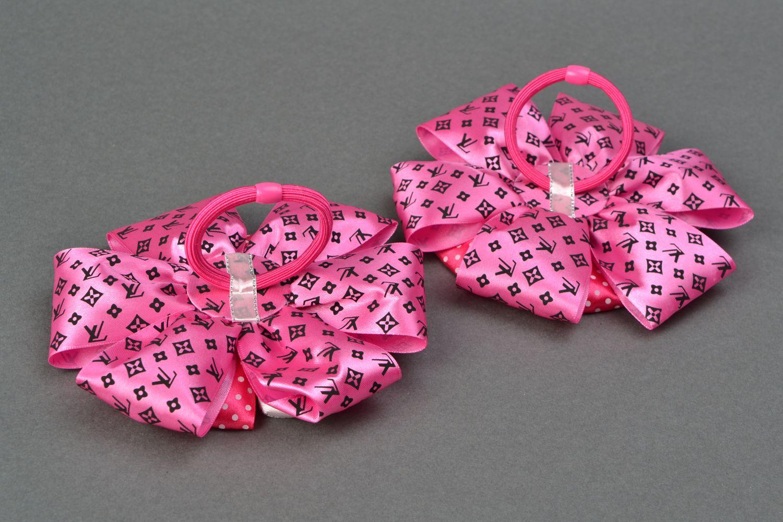 Set of bright hair ties with large ribbon bows Pink photo 3