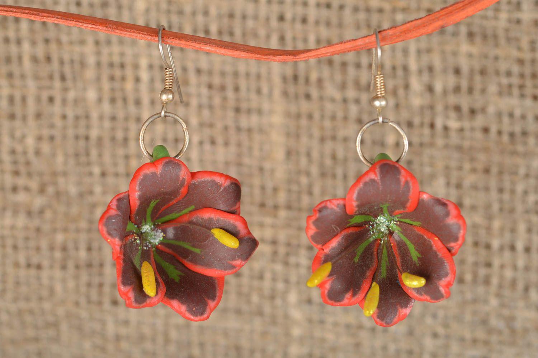 polymer clay earrings Beautiful handmade designer polymer clay dangle earrings with tropic flowers - MADEheart.com