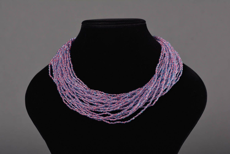 Колье из бисера украшение ручной работы многорядное ожерелье из бисера фото 2