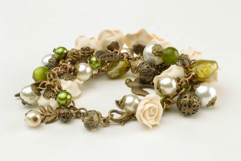 Armband aus Polymerton mit Blumen foto 5