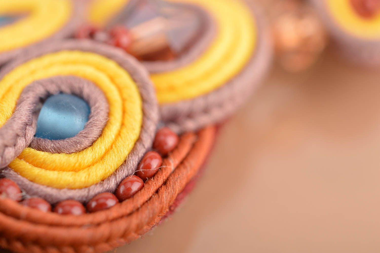 Handmade long dangle soutache earrings brown and yellow designer jewelry photo 4