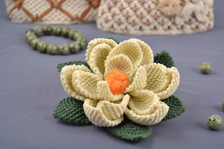 Handmade decorative artificial lotus flower woven using macrame technique photo 1