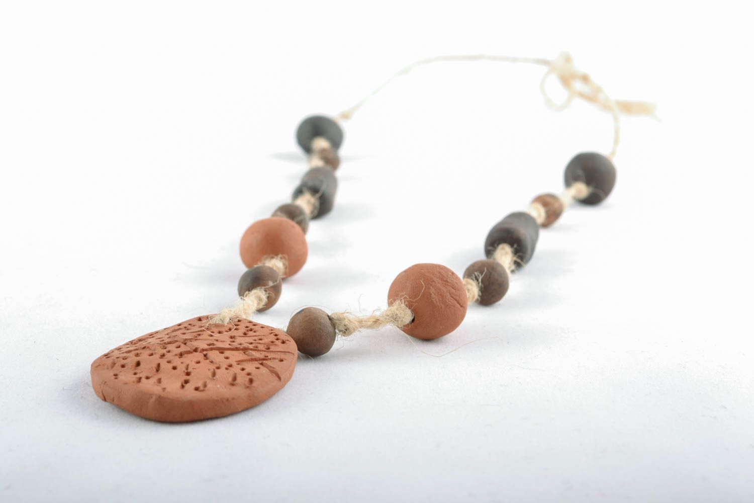 Clay necklace in eco style photo 2