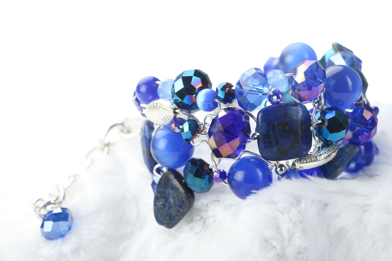 Wide bracelet with natural stones photo 2