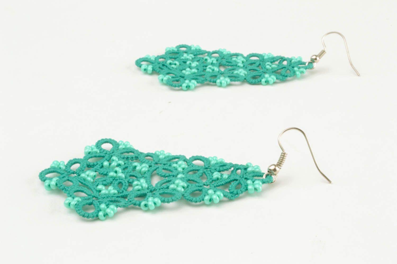 Lace blue earrings photo 2