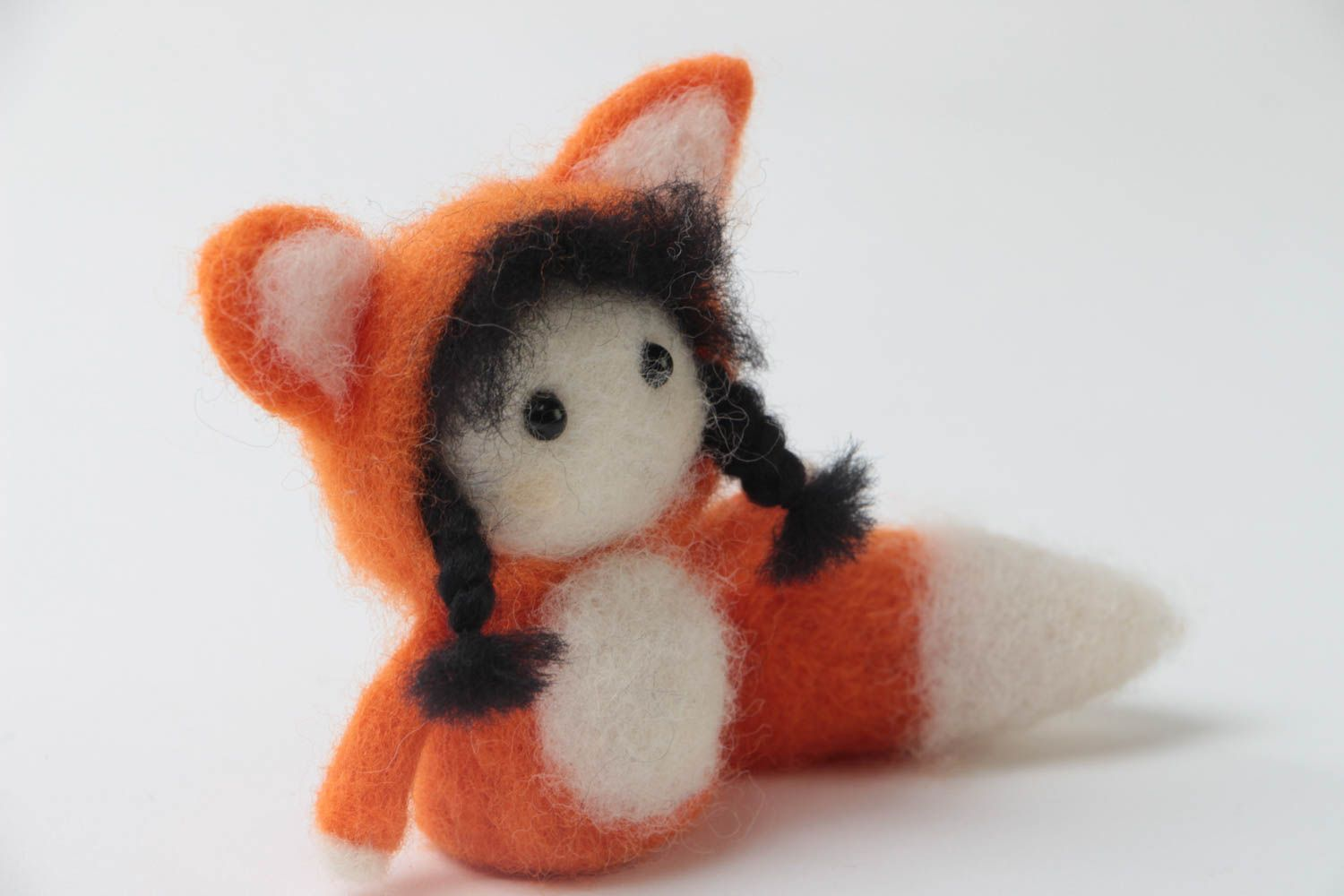 felted toys Small handmade designer felted wool toy fox children's pocket friend - MADEheart.com