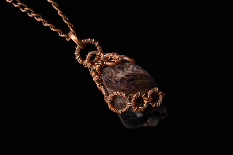 Copper thread pendant with rhodonite photo 2