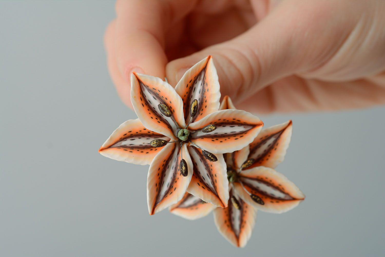 Handmade floral earrings photo 3
