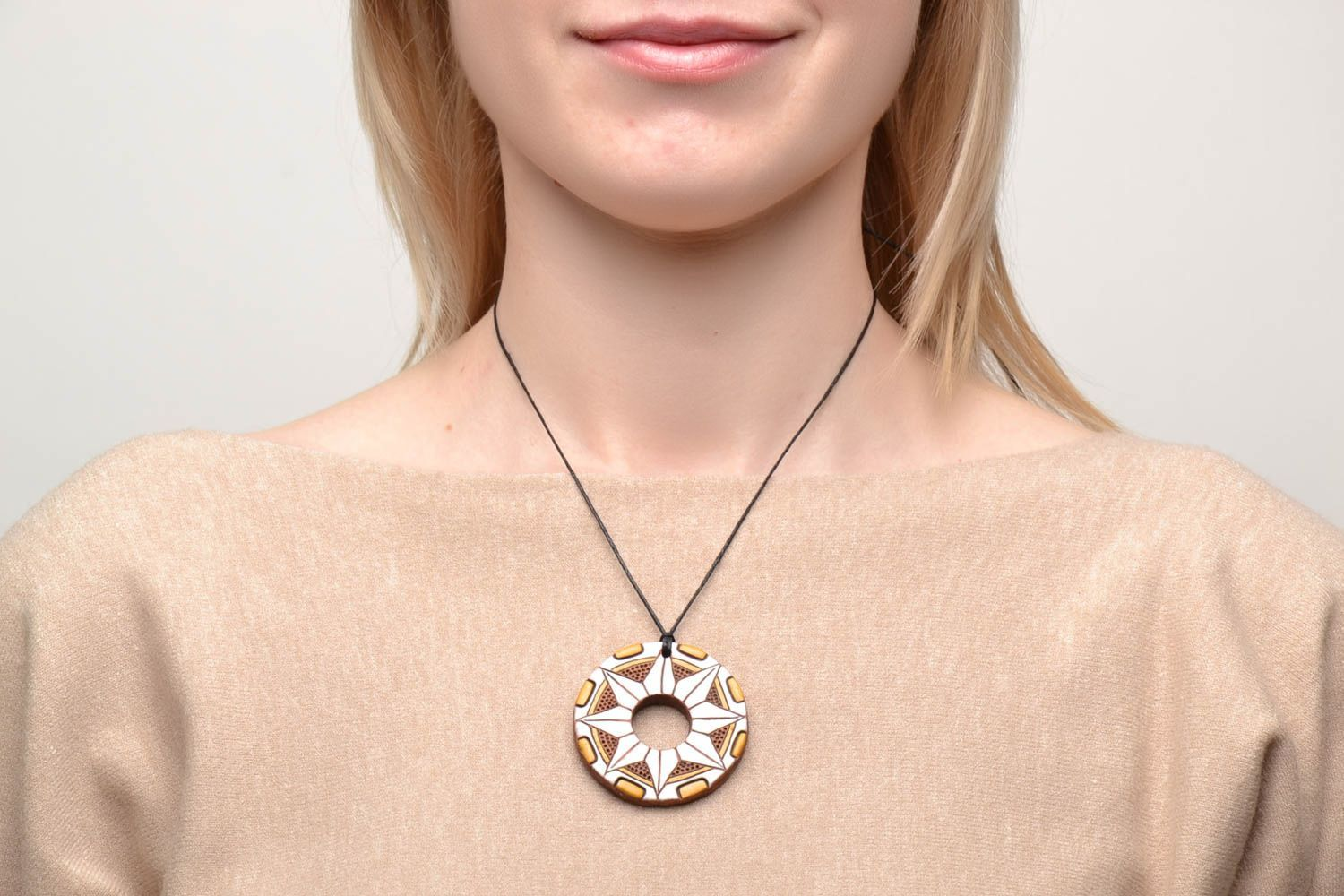 Ceramic pendant with ornaments in ethnic style photo 2