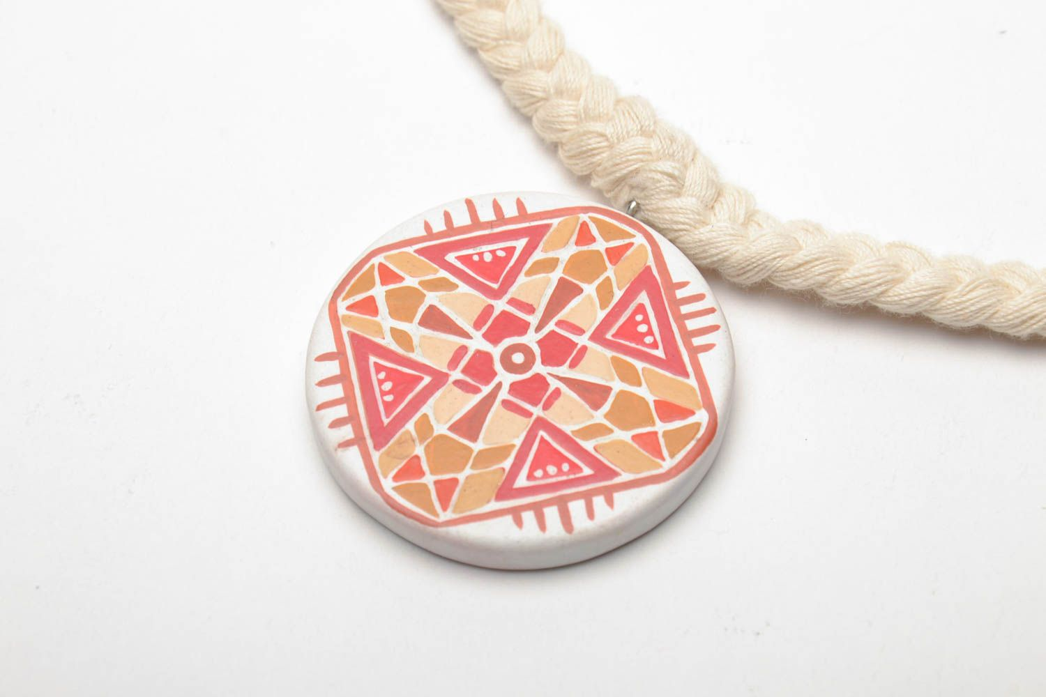 Wooden pendant with ornament photo 3