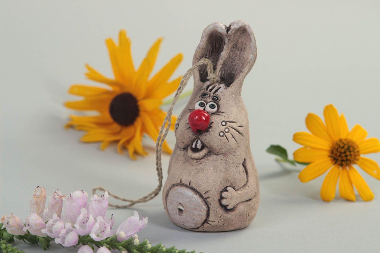 Handmade ceramic statuette stylish clay bell rabbit home decor cute figurine photo 1