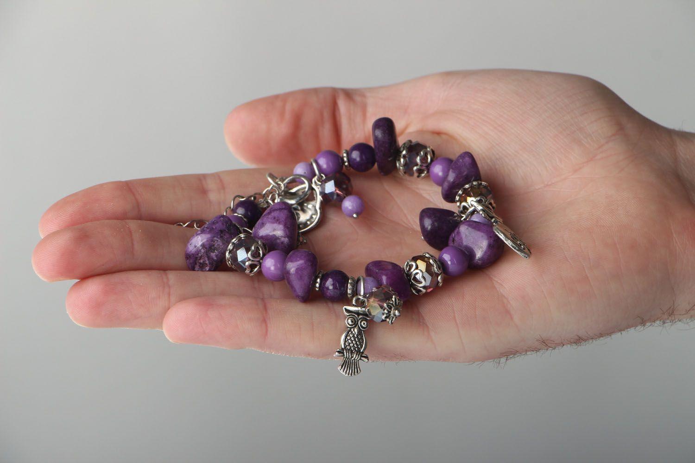 Natural stone bracelet of violet color photo 4