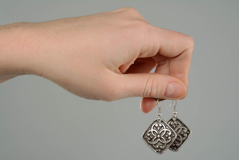 Handmade metal pendant earrings  photo 5