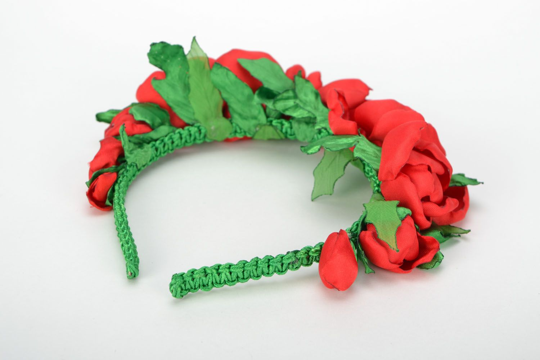 Haarreif aus Stoff Rote Mohnblumen foto 5